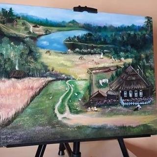 """Картина маслом""""Лето в деревне"""" художник Наталья Рябчун"""