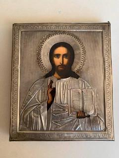 Икона  Спас. Аналой, оклад серебро 84