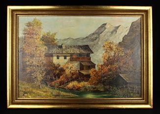 Альпийский пейзаж. Масло. Подпись автора. 665х465 мм. Европа (0751)