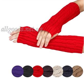 Митенки длинные перчатки без пальцев теплые photo 2