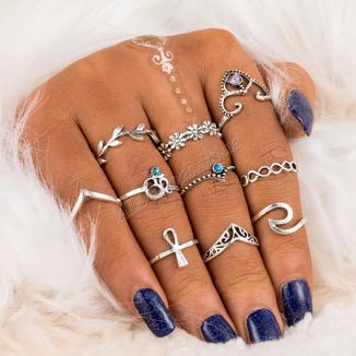 Кольца на фаланги. Набор из 10 колец (ring10-sil3)