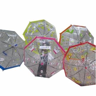 Зонт 5 видов, прозрачная клеенка, купол.форма, со свистком, в пакете 50 см