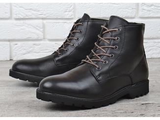 Мужские ботинки кожаные зимние черные завышенные Mustang Португалия