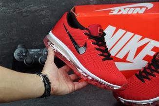 Кроссовки мужские Nike Flyknit Max красные