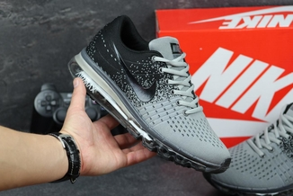 Кроссовки мужские Nike Flyknit Max серо-черные