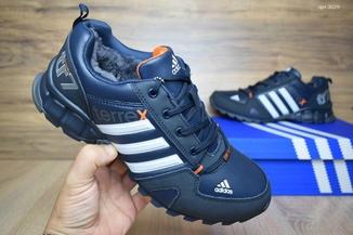 Кроссовки мужские зимние Adidas Terrex сине-оранжевые