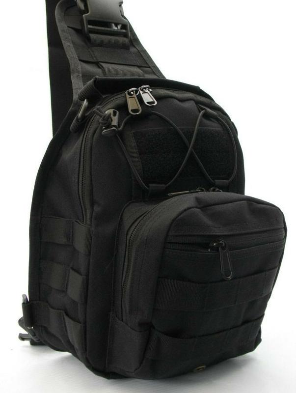 Тактический рюкзак однолямочный Silver Knight с системой M.O.L.L.E Black  (098) 428dc9b0747d9