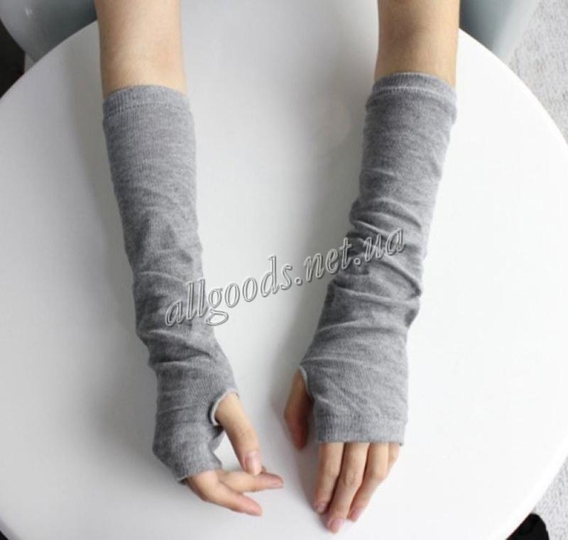 Митенки длинные перчатки без пальцев серые. уценка