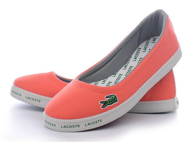 Кеды слипоны женские Lacoste текстильные оранжевые - «OXO VIOLITY» 3d9f8347693c1