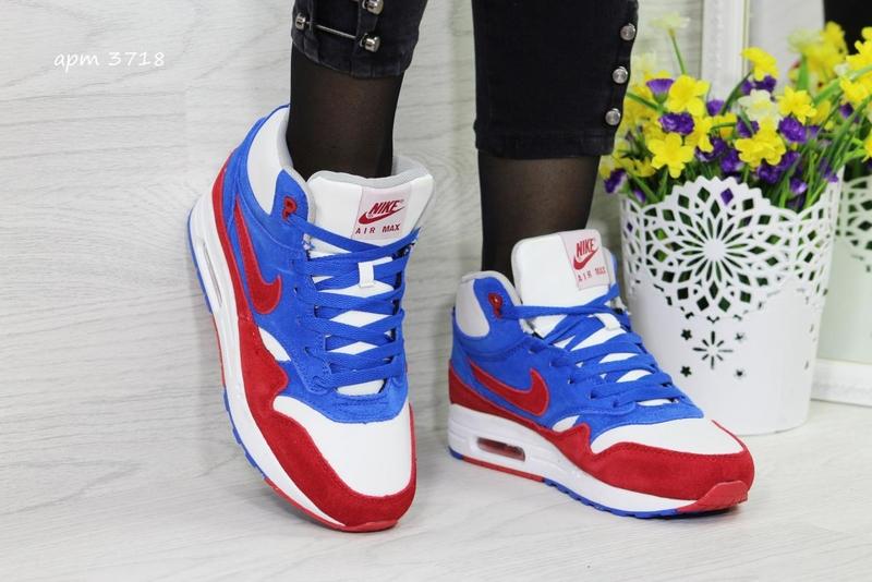 c2be9daa7651 Кроссовки мужские зимние Nike Air Max 87 сине-бело-красные - «OXO ...